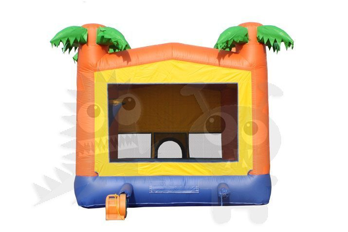 13x13 Tropical Palm Tree Bounce House Jumper with Basketball Hoop Commercial Inflatable For Sale