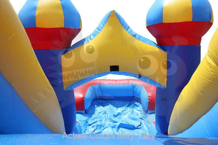 5-in-1 Carnival Castle Wet/Dry Combo Bounce House Jumper with Slide Pool and Basketball Hoop Commercial Inflatable For Sale