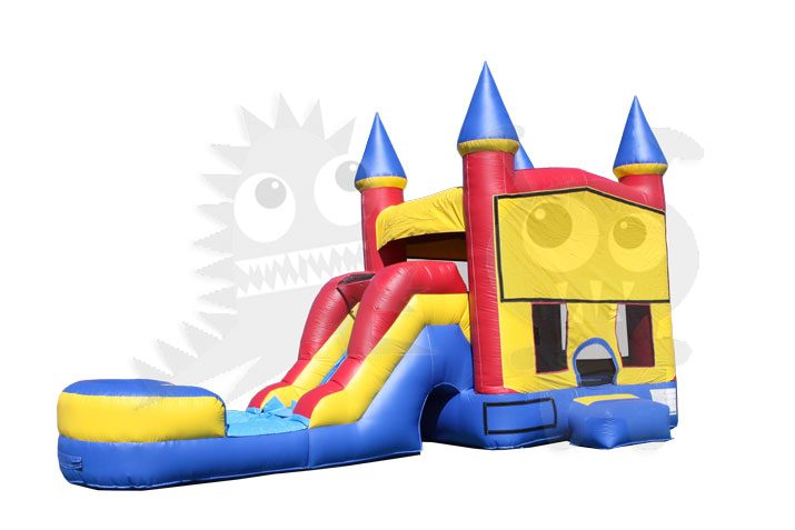 Red Yellow Blue Mini Castle 5-in-1 Combo Bounce House Jumper Wet/Dry with Slide Pool and Basketball Hoop Commercial Inflatable For Sale