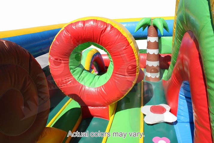 Multicolor Colorful Tropical Garden Flowers Inflatable Obstacle Course Commercial Inflatable For Sale