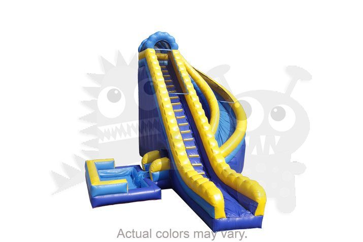 25' Blue Yellow Corkscrew Wet/Dry Slide Commercial Inflatable For Sale