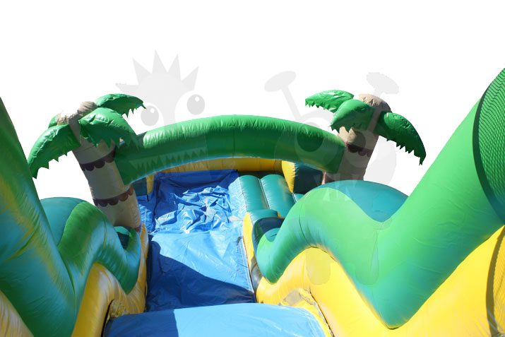 18′ Tropical Palm Tree Wet/Dry Water Slide Single Lane Commercial Inflatable For Sale