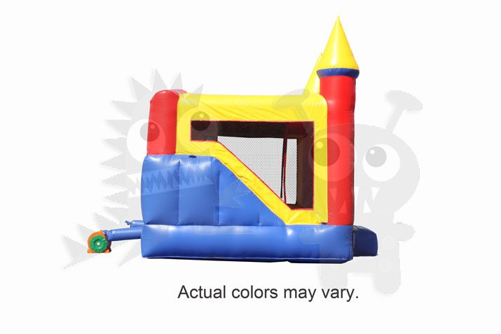 Inflatable Neutral Color Castle Point Combo Bouncer with Slide, Climbing Wall and Hoop Commercial Inflatable For Sale
