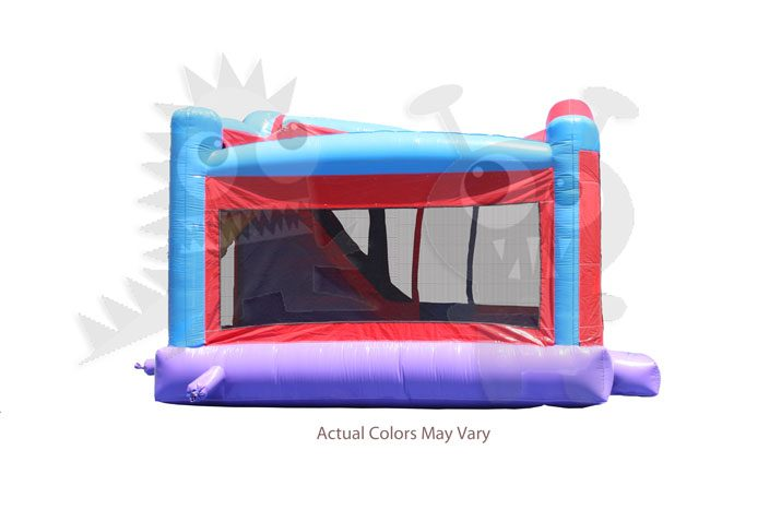 4-in-1 Inflatable Purple Red and Blue Combo with Slide, Climbing Wall and Hoop Super Durable Commercial Inflatable For Sale