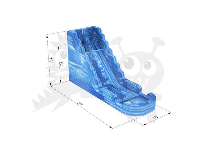 16' Blue Marble Wet/Dry Slide Commercial Inflatable For Sale